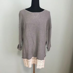 Light sweater top with attached cream lace